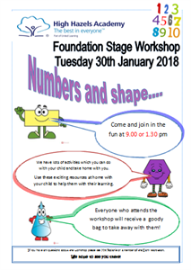 Number & Shape Workshop FS1 & FS2 - Tuesday 30th January 9am or 1.30pm